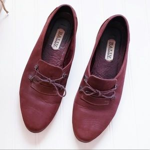 BALLY Designer Suede Penny Lace Up Loafers